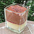 Transparence chocolat, crème brûlée, confit de fruits rouges (recette tirée de l'encyclopédie du chocolat)