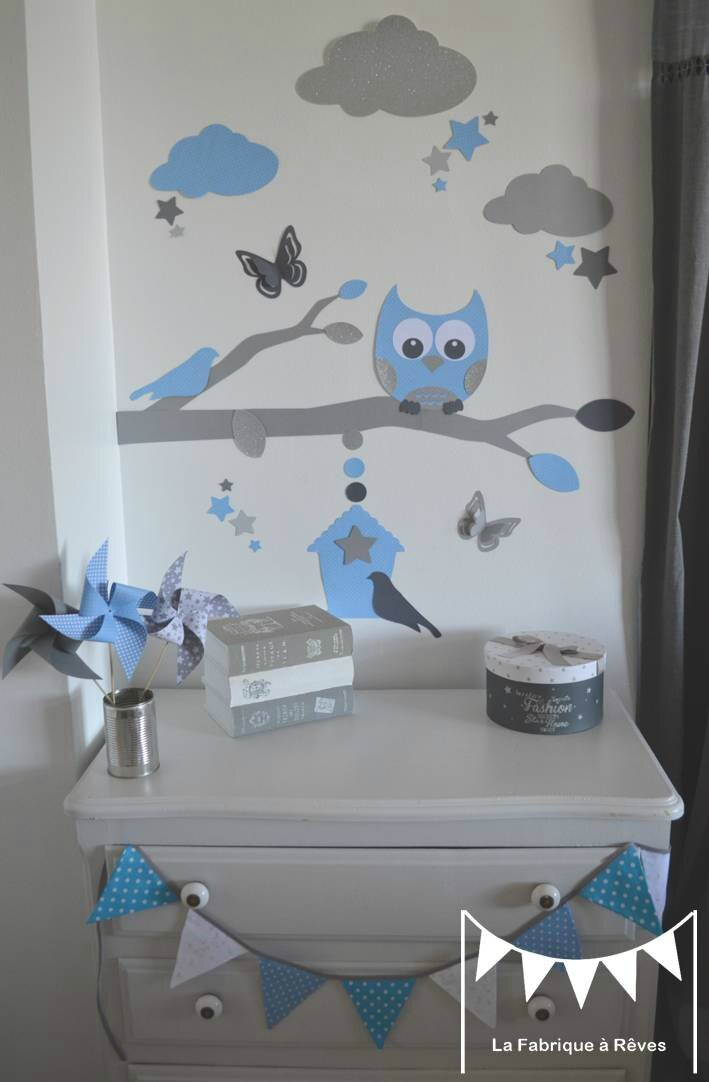 stickers bleu ciel gris argent d coration chambre enfant. Black Bedroom Furniture Sets. Home Design Ideas