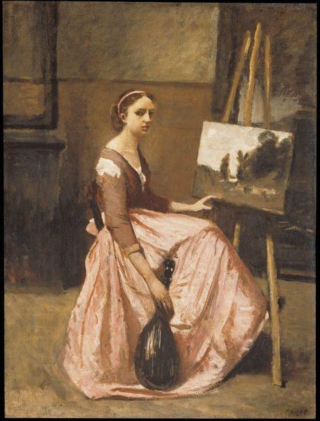 Corot Camille, L'Atelier de Corot (Jeune femme en robe rose