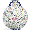 A fine and brilliantly enamelled famille-rose moonflask, seal mark and period of Qianlong (1736-1795)