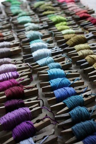 épingles à linge en bobines de fil à broder