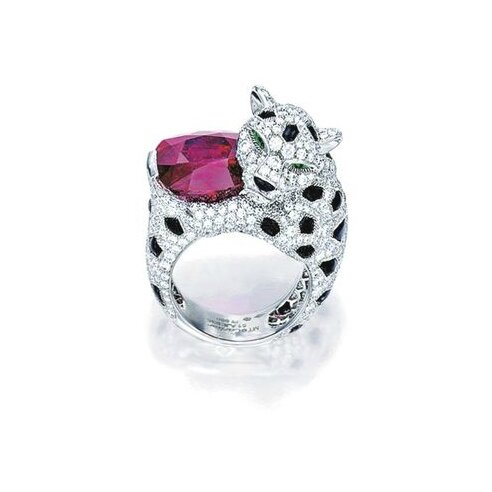 Rare Ruby, Diamond and Onyx 'Panthère' Ring, Monture Cartier