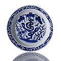 A good blue and white three friends and shou character dish. wanli-tianqi period