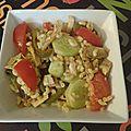 Salade tiède de pâtes au poulet et légumes d'été