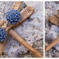 Bo fleur en résine bleu