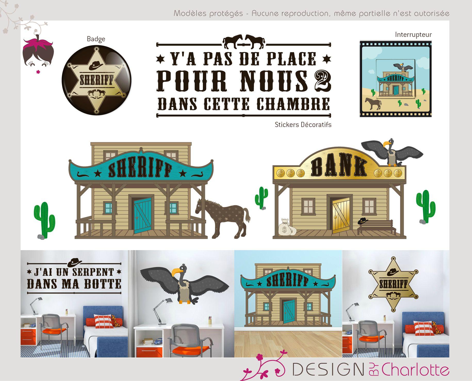 stickers th me cowboy au far west cr ation de design. Black Bedroom Furniture Sets. Home Design Ideas