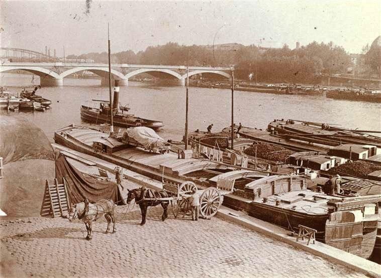 Charrette sur les bords de la Seine, 1910-1914