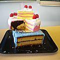 Pièce montée gourmande gâteau et boîte cadeau anniversaire coupé