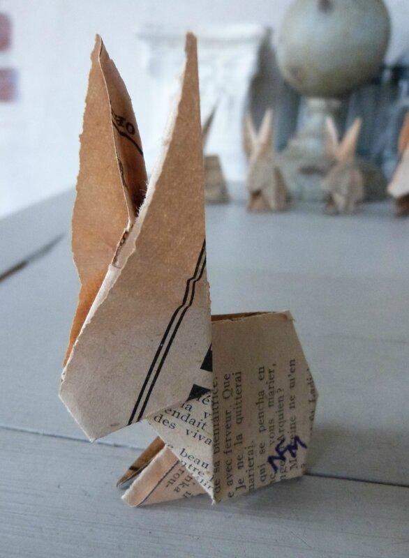 Lapin origami papier ancien (34)