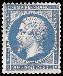 Timbre français 20c Napoléon III 1860