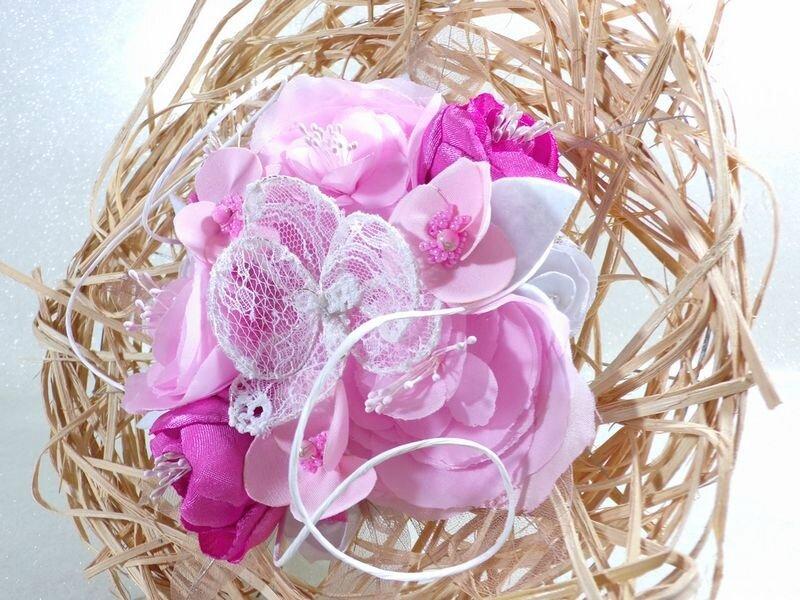Bouquet de mariage fleurs rose blanc tissu dentelle éternel intemporel fait main