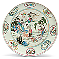 A large Famille Rose dish, 18th century, the porcelain 15th century
