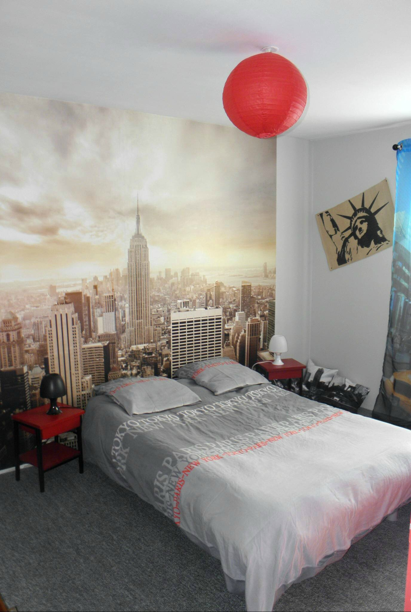 Chambre theme new york decoration chambre ado london with for Chambre new york