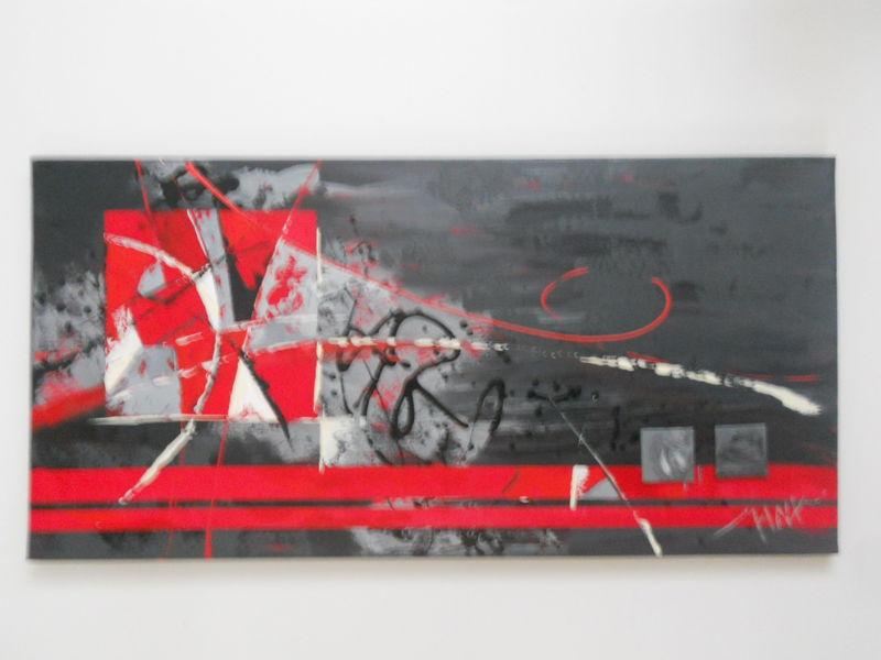 Photo peinture poteris tableau orange gris 013 for Tableau abstrait gris et rouge