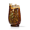 Sancai glazed pottery wine flask with dragon décor, china, liao dynasty (907-1125)