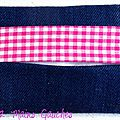 pochette à mouchoirs en jean et vichy fuchsia