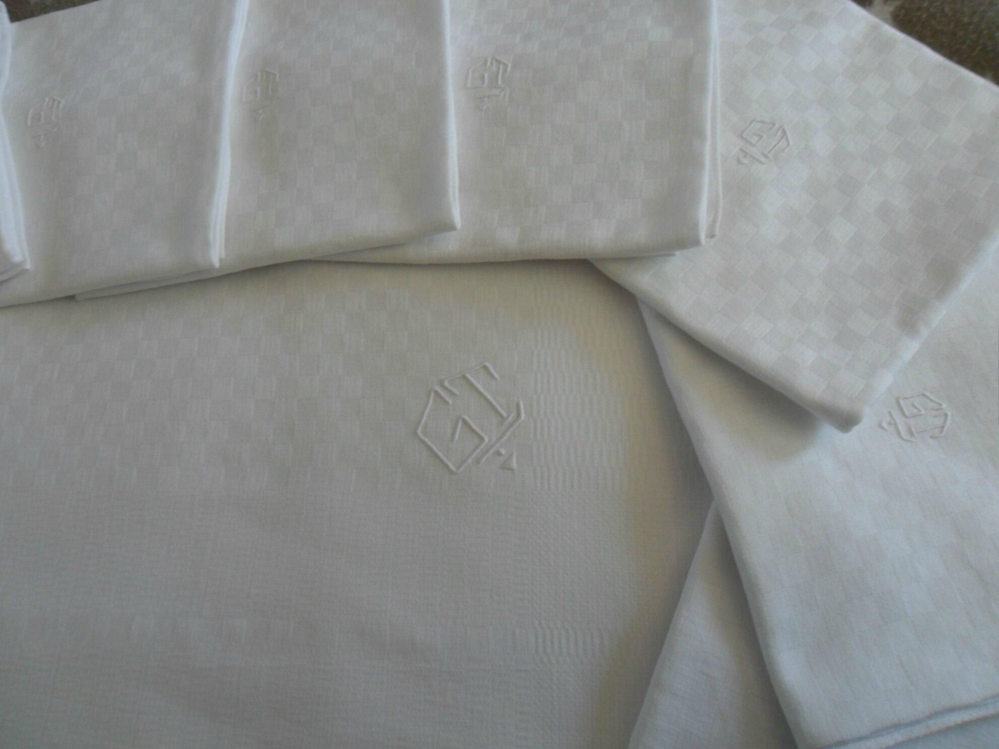 service de table nappe 10 serviettes coton damass 85 photo de linge de. Black Bedroom Furniture Sets. Home Design Ideas