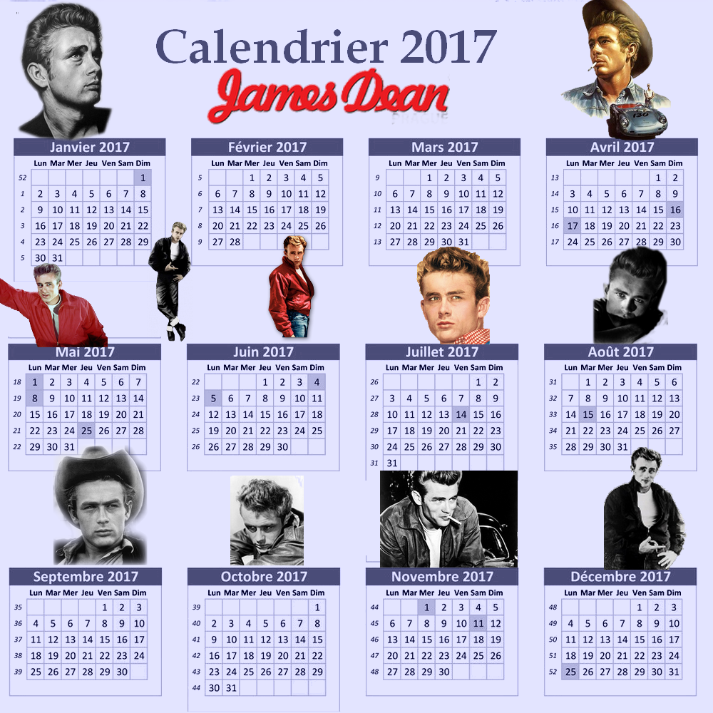 Calendrier 2017 James Dean par Minouchapassion