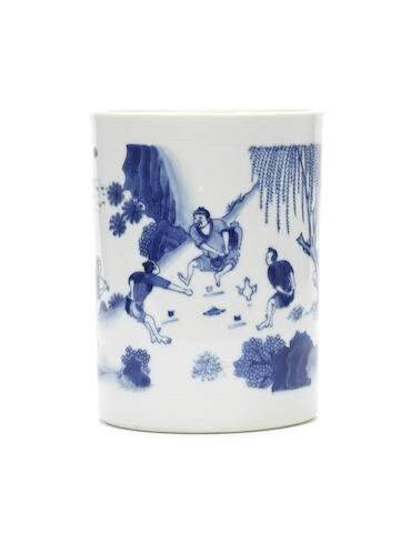 A rare blue and white 'boys at play' brushpot, bitong, Chongzhen