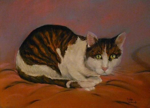Chat Blanc et Marron - Pastel
