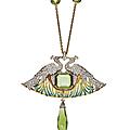 An art nouveau peridot, diamond, enamel and glass pendant necklace, by rené lalique