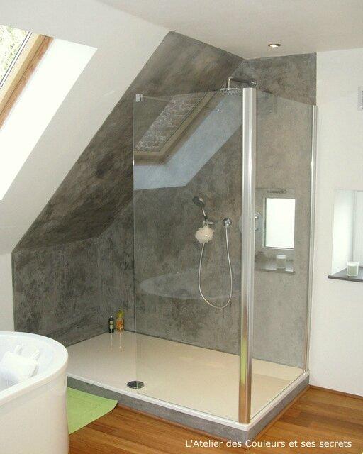 Enduit style beton lisse dans une salle de bains l for Enduit beton salle de bain
