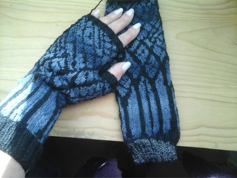 Winter Twilight Mitts bleu