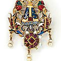 A renaissance gold, garnet and enamel devotional pendant of 'the virgin of the pillar'