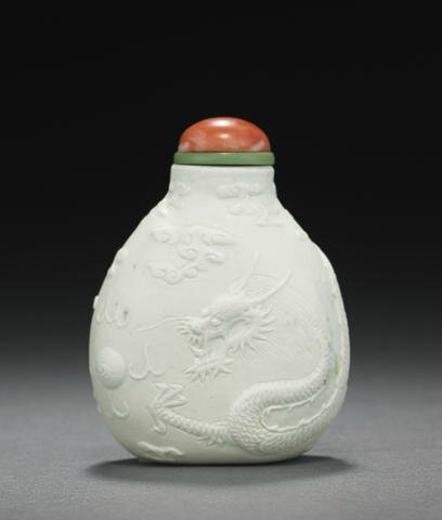 A molded biscuit porcelain snuff bottle 1820-1880