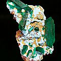 Dioptase on shattuckite-covered matrix