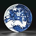 A large blue and white dish, kangxi six-character mark in underglaze blue within a double circle and of the period (1662-1722)