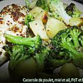 Casserole de poulet, miel, ail, pdt et brocoli
