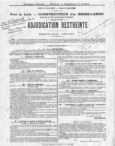 Adjudication restreinte en octobre 1905