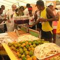 bananes, canne à sucre, mandarines, oranges, jus de groseille