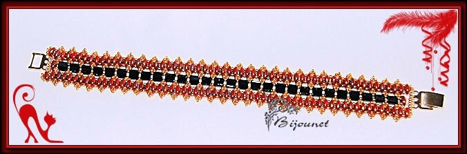 bracelet Nelly rouge noir 1