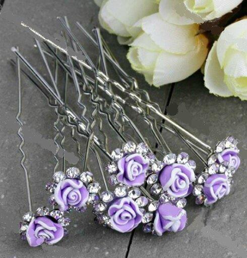 Lot de 10 barettes violette fimo fleurs (barettes n° 6)