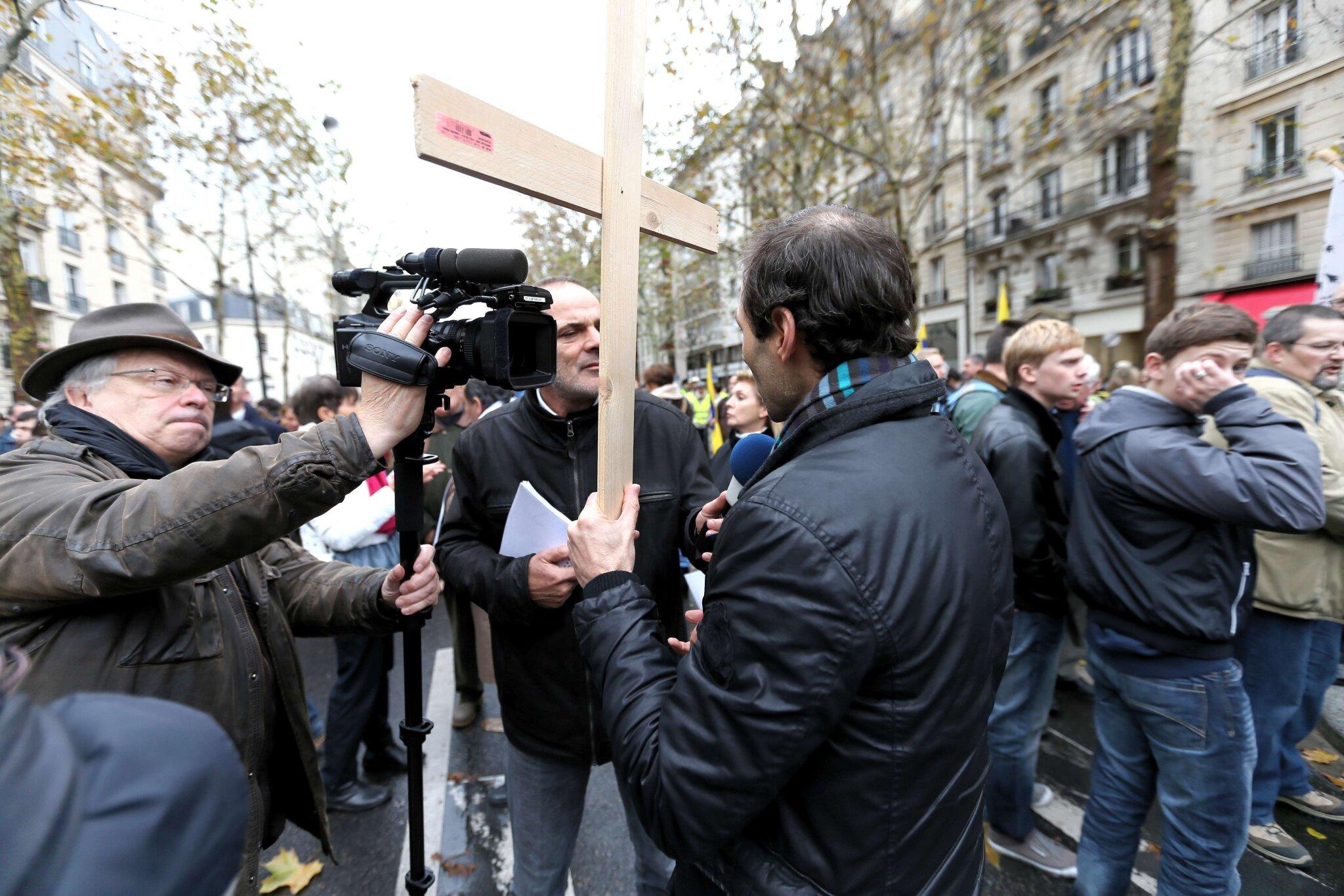 L'Institut Civitas mobilise contre le mariage homosexuel. © Photo Michel Stoupak. Dim 18.11.2012.