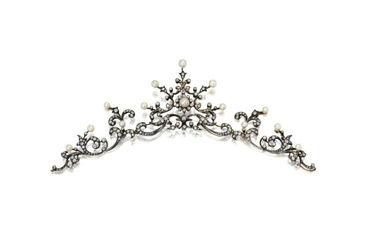 Silver-Topped Gold, Pearl and Diamond Tiara-Necklace, late 19th century