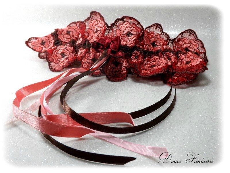 Jarretière en dentelle marsala bordeaux chocolat