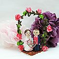 Cake toppers mariage arche fleuri rose