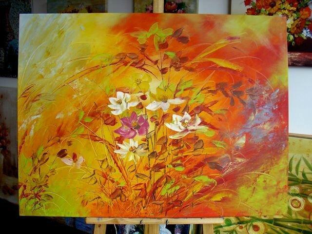 Tableau couleurs vives fleurs des champs latifa demlek - Tableau noir et blanc avec touche de couleur ...