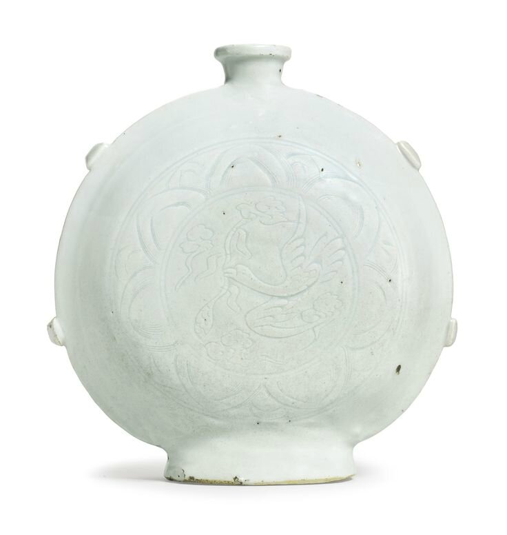 A rare white-glazed pilgrim's flask, Yuan dynasty