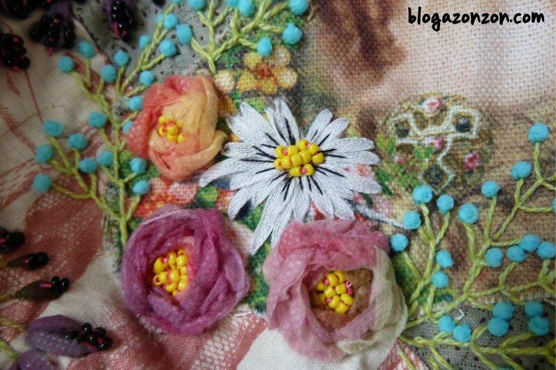 bouquet fleurs broderie au ruban