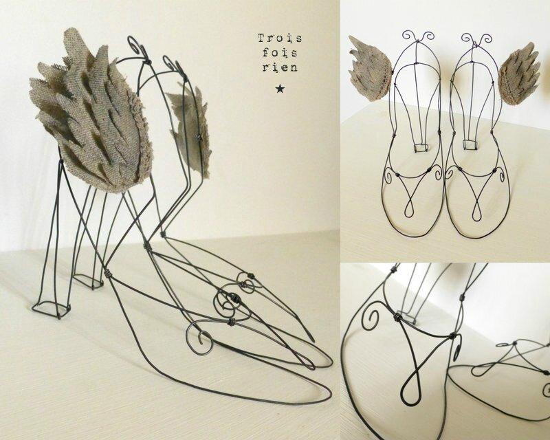 Escarpins de 7 lieues, chaussures ailées, chaussures fil de fer, escarpins, wire shoes, wings 1