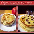 Crêpiaux aux pommes et aux raisins