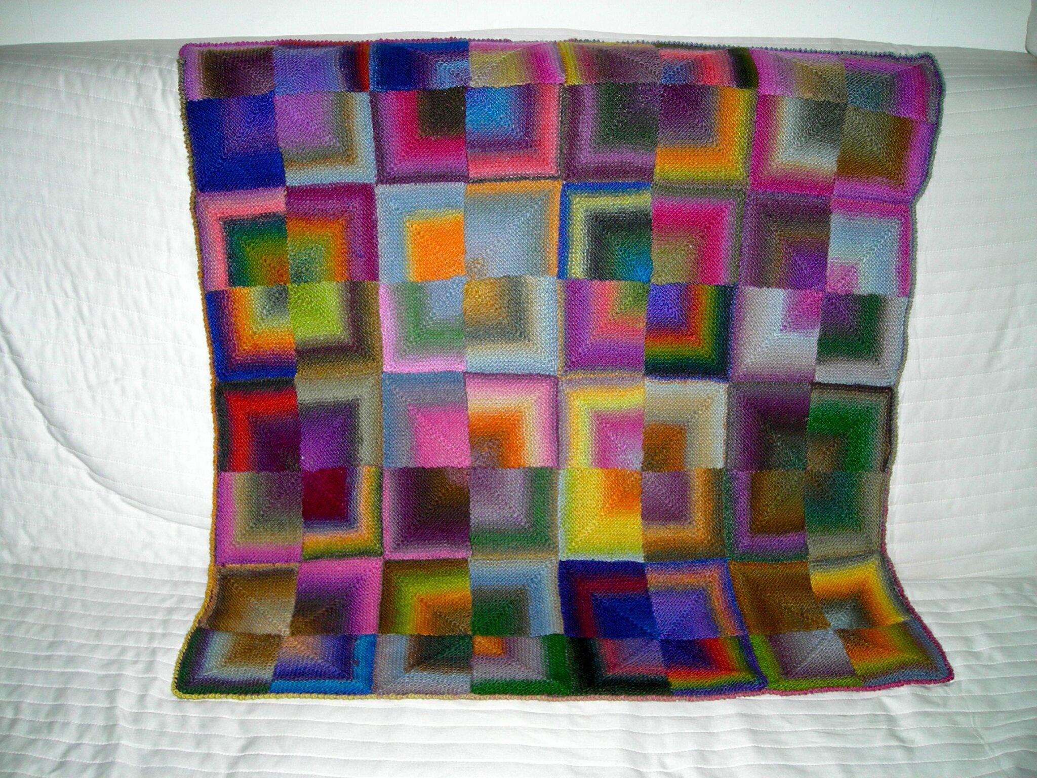 plaid b b couleurs arc en ciel patchwork tricot. Black Bedroom Furniture Sets. Home Design Ideas