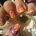 nail art fleur jaune et orange1