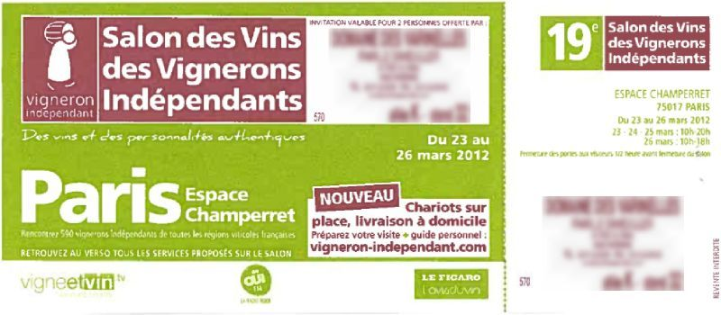Salon des vignerons ind pendants champerret mars 2012 la for Porte de versailles salon des vignerons independants 2015