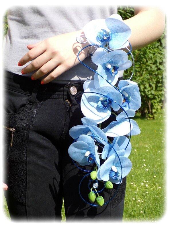 Bouquet de mariée Orchidée bleu argent 1