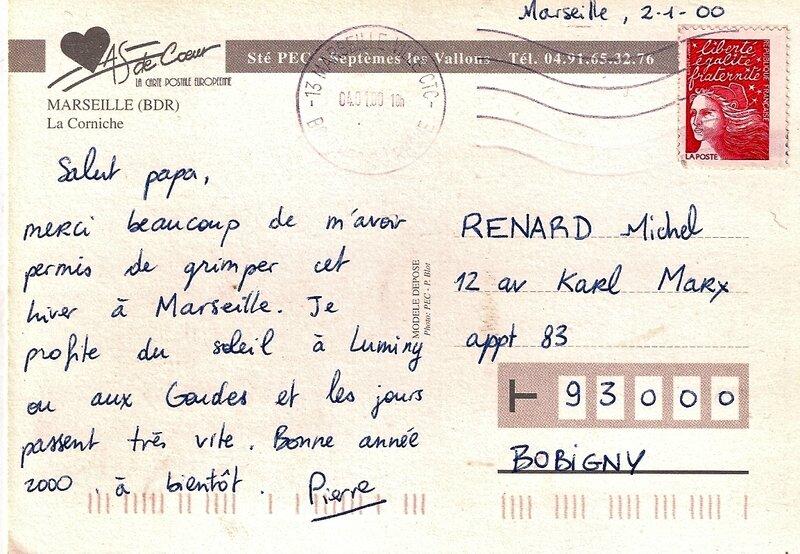 carte postale Pierrot 2 janvier 2000 verso